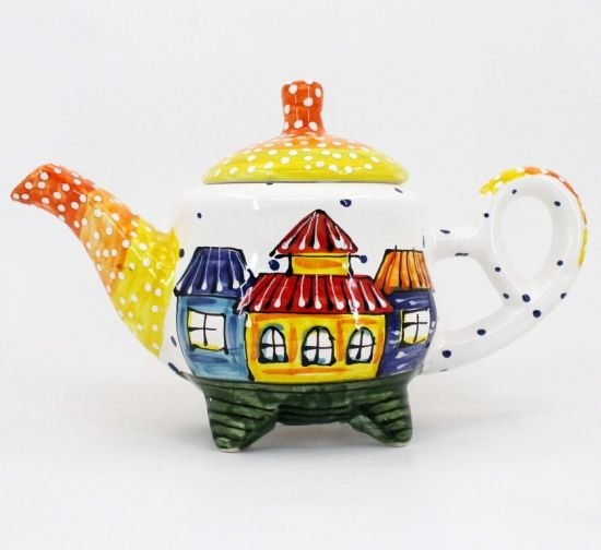 Hand painted ceramic coffee pot with little house