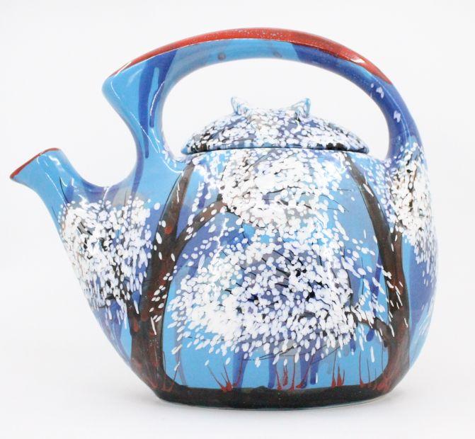 Original ceramic teapot hand painted with winter motifs