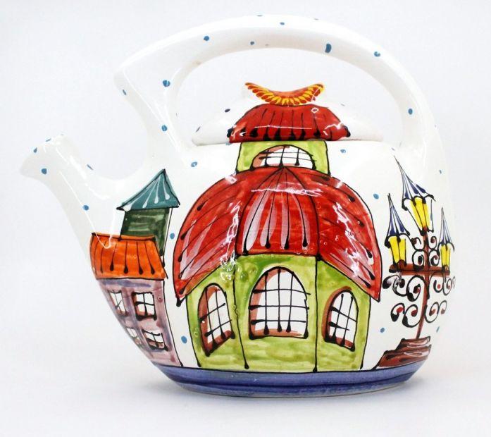 Design Teekanne aus Ton, handbemalt