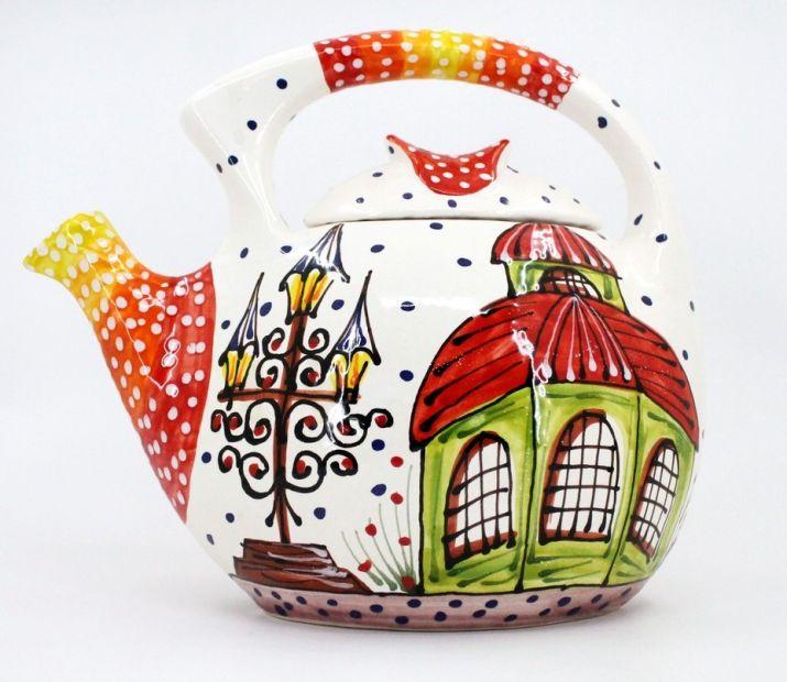 Handbemalte Keramik-Kaffeekanne mit Häusschen-motiven