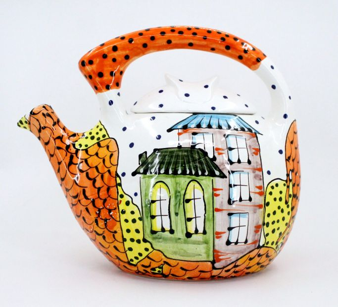 Large ceramic teapot with house motifs