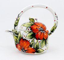 Getöpferte Teekanne (79), handbemalt