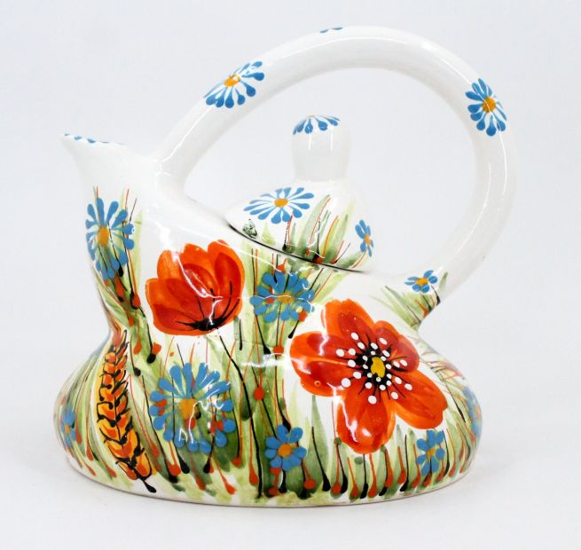 Original ceramic teapot with poppies, hand painted