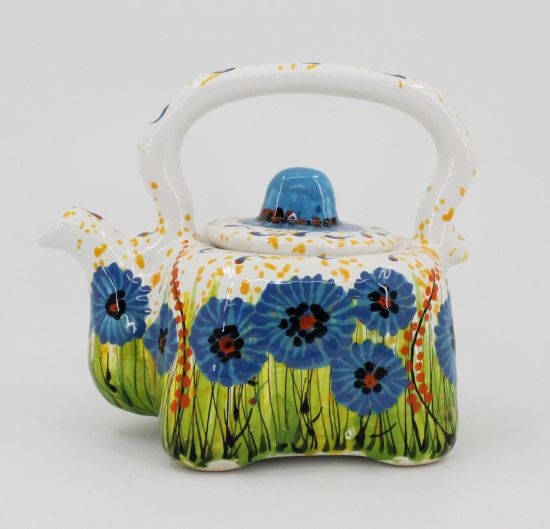 Small hand painted ceramic teapot