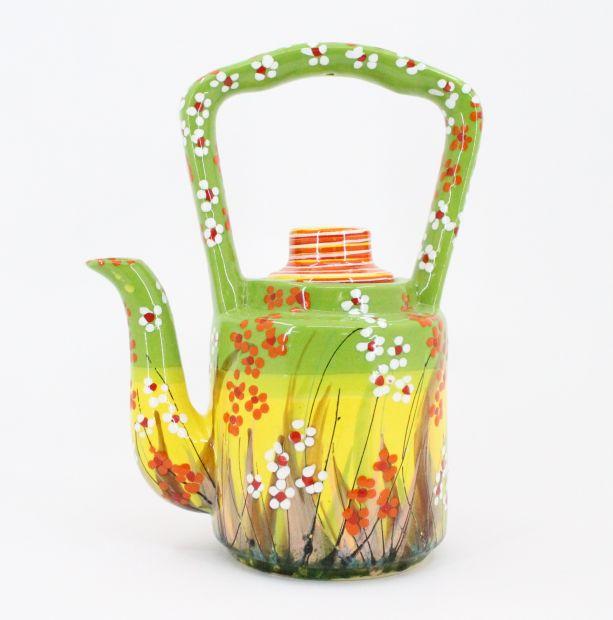 Originelle Teekanne aus Keramik mit Blumchen handbemalt