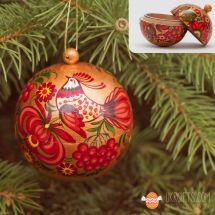 Gold-rote Christbaumkugel 7cm aus Holz handbemalt