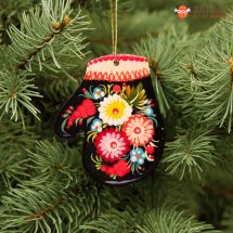 Bunte Fäustling-Weihnachtsdecoration traditionell bemalt