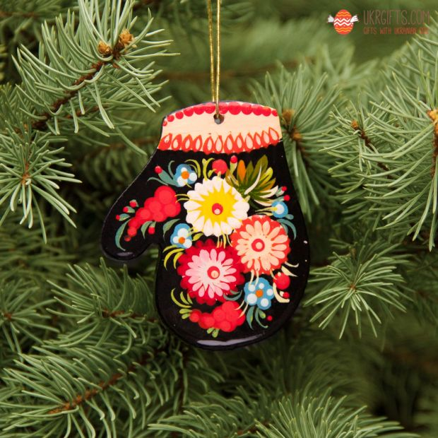 Wooden Christmas Mitten Ornaments (03), hand painted in Ukraine, Petrykivka Painting