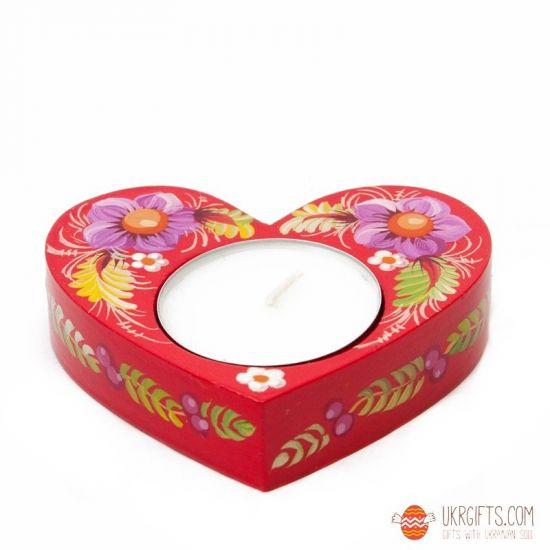 Heart shaped wooden tealight holder, lovely handmade gift