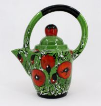 Designer clay teapot with poppies
