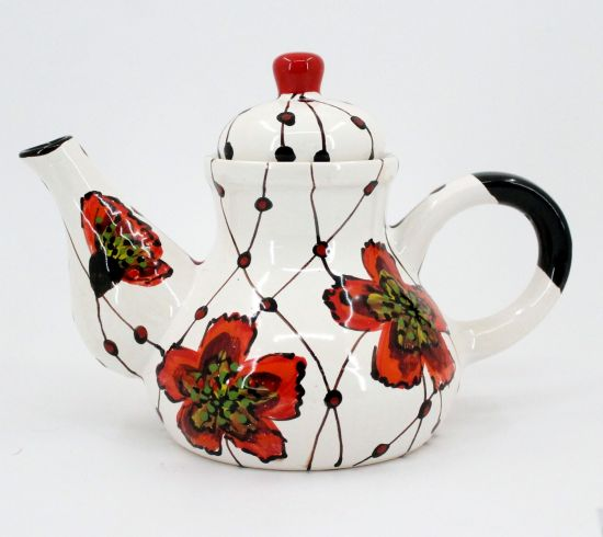 Handbemalte Keramik-Kaffeekanne mit Mohnblumen