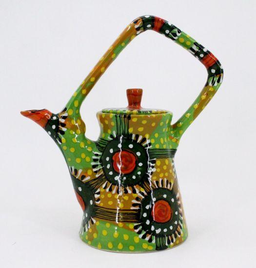 Bunte keramik Teekanne in Grün, Handarbeit