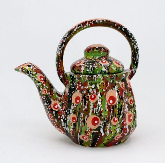 Getöpferte Teekanne - Abstraction in Grün, handbemalt