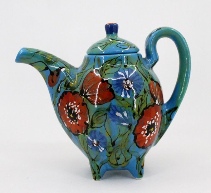 Original ceramic teapot with moh flowers