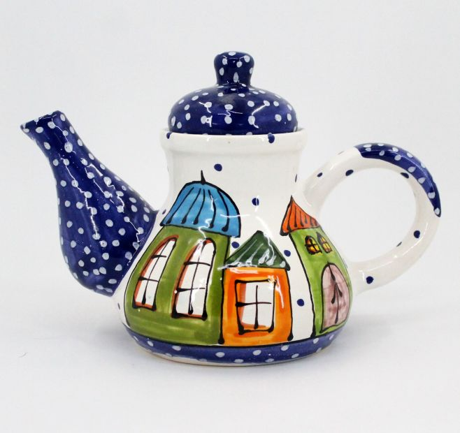 Original ceramic teapot with house, hand-painted