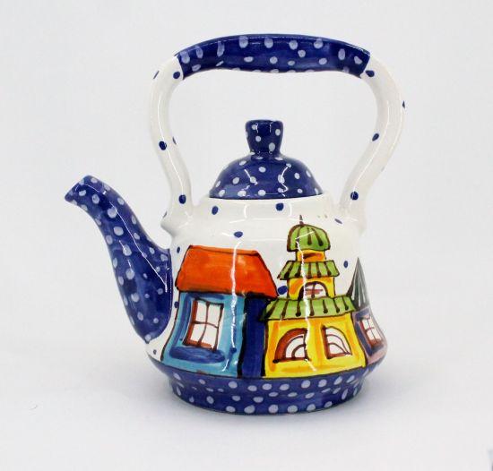 Getöpferte Teekanne mit Häusschen von Hand bemalt