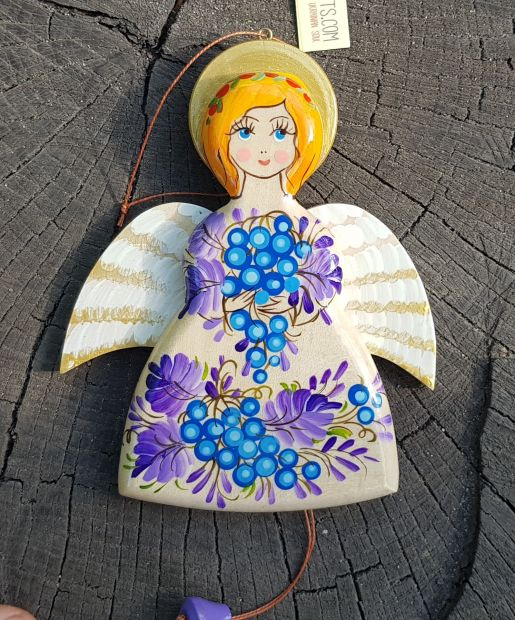 Angel jumping jack toy, made of wood, creative wall decoration for children room, handmade