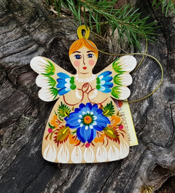 Angel christmas tree decoration, wooden hand painted ethnic ornament