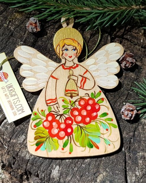 Angel Christmas tree decorations, handmade and hand painted wooden ornament