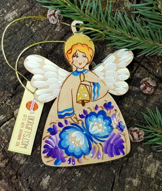 Vintage angel ornament, wooden hand painted Christmas decoration