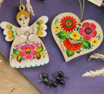 Wooden Christmas ornaments Angel and Hears decoration