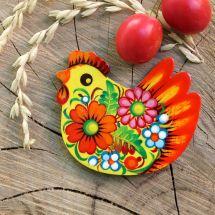 Huhnchen- Magnet aus Holz, hanbemalt - ukrainische Malerei