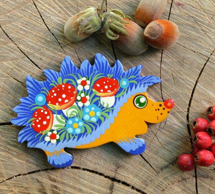 Cute hedgehog - wooden fridge magnet