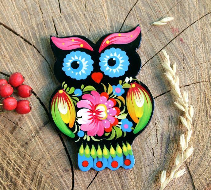 """Decorative fridge magnet """"Owl"""", small handmade gift for owl lovers"""