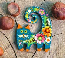 """Nice gift for cat lovers, wooden fridge magnet """"Cat"""""""
