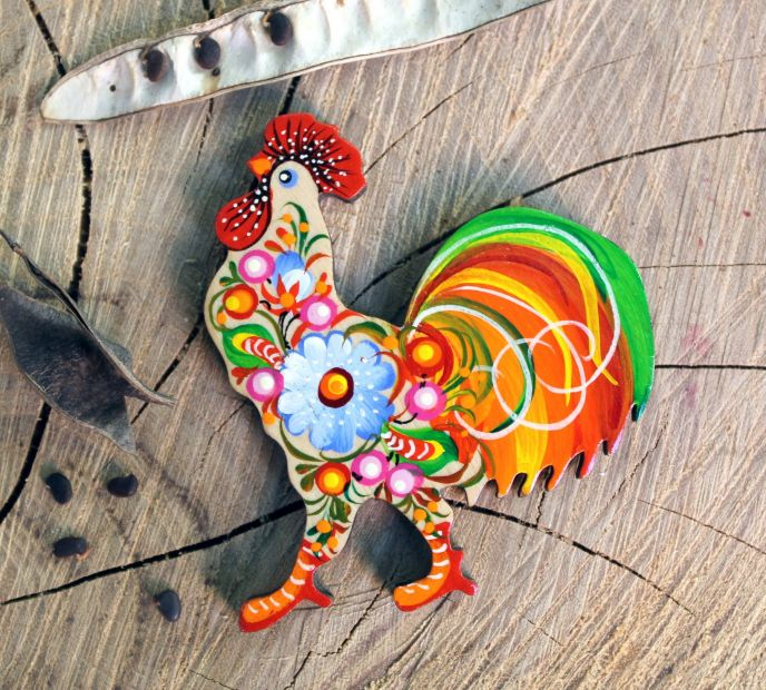 """Decorative refrigerator magnet and souvenir """"Rooster"""", handmade, Petrykivka painting"""