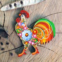 Hahn - schöne Magnete aus Holz, hanbemalt - ukrainische Petrykiwka-Malerei