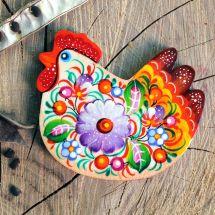 Schöne Huh- Magnet aus Holz, hanbemalt - ukrainische Malerei