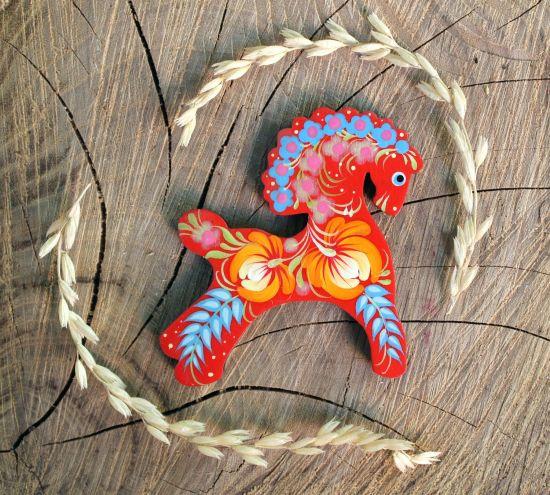 Cute horse - handmade wooden fridge magnet