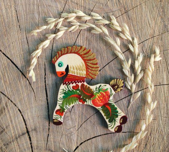 Sweet horse - handmade wooden fridge magnet