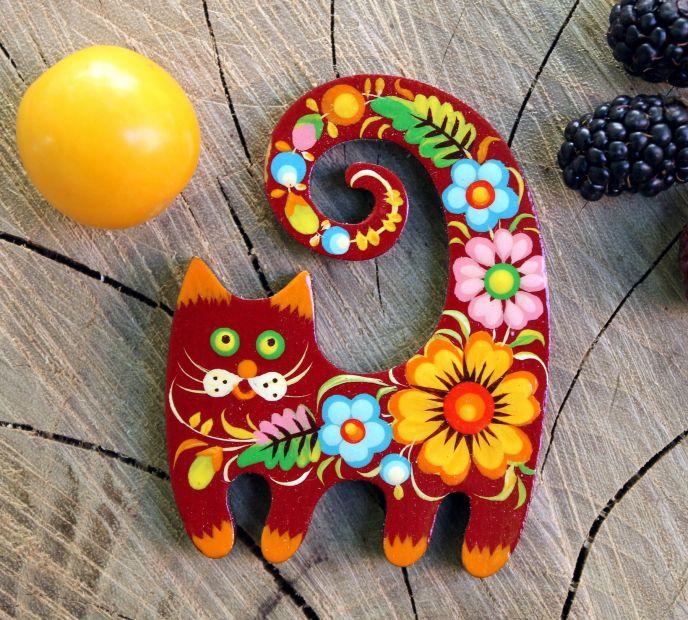 Rote katze mit Blumenmuster-handmade Kühlschrankmagnet