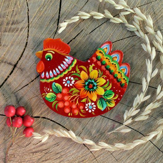Schönes Huhnchen-Magnet aus Holz, ukrainische Handwerkkunst