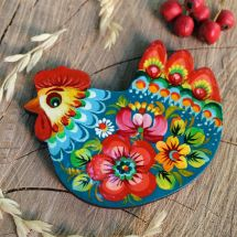 Lovely magnet Chicken, original ukrainian painting