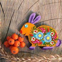 Magnet Easter rabbit hand painted -ukrainian Petrykivka painting
