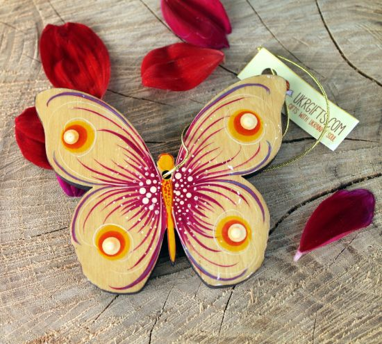 High quality Christmas tree decoration made of wooden butterfly hand-painted