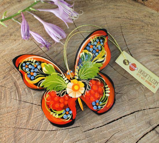 Handgedertigter Christbaumschmuck aus Holz- Schmetterling nach ukrainischer Malerei