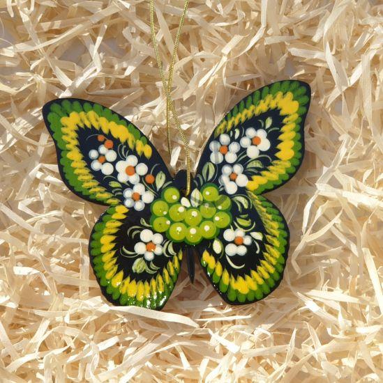 Christbaumschmuck aus Holz- Schmetterling mit grünem Muster