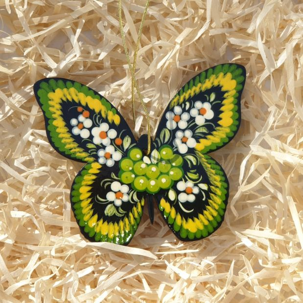 Christmas tree ornament made of wood- butterfly with green pattern