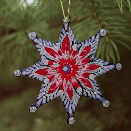 Bunter Weihnachtsbaumschmuck Stern aus Holz, handbemalt