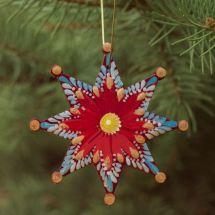 Bunter Christbaumschmuck Stern aus Holz, handbemalt