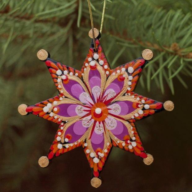 Nostalgic Christmas tree decorations star, hand-painted