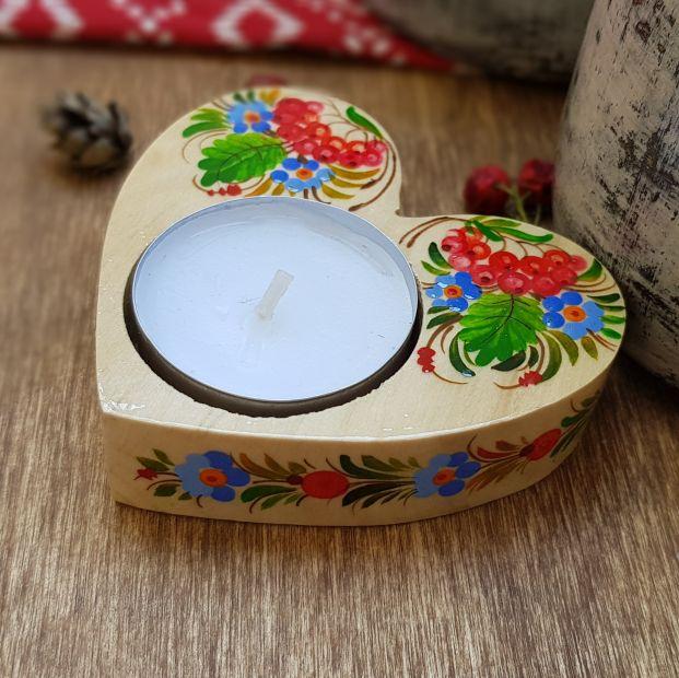 Hand made heart shaped gift  wooden candlestick