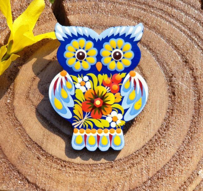 Handbemalte Brosche Eule aus Holz, ukrainische Malerei