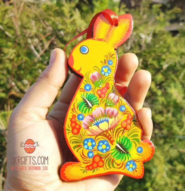 Handpainted sunny Easter rabbit ornament