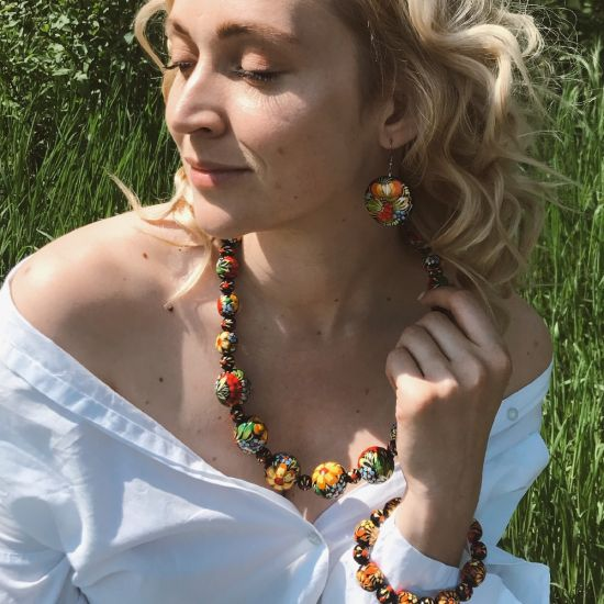 Wooden bead necklace, fashion hand painted wooden jewelry