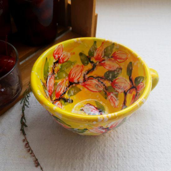 Shöne Tasse 0.5 L mit Blumenmuster - Ukrainische Keramik von Hand bemalt